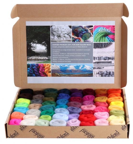 Merino Kammzüge Musterpackung alle Farben
